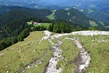 Z Blegoša vodi krožna pot mimo planinske Koče na Blegošu, ki je za otroke lažja.