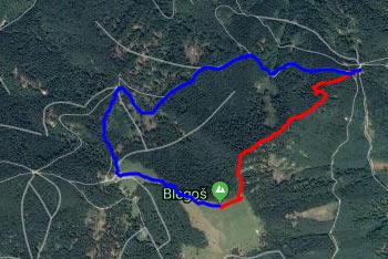 Krožna pot na Blegoš vodi po direktni strmi poti, vračamo pa se mimo planinske Koče na Blegošu.