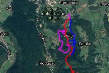 Ker je pot do Dobravice iz dolne Drage krožna uporabimo gps navigacijo.