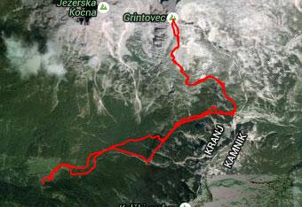 GPS sled imamo s sabo na Grintovec za primer, da nas ujame tema.