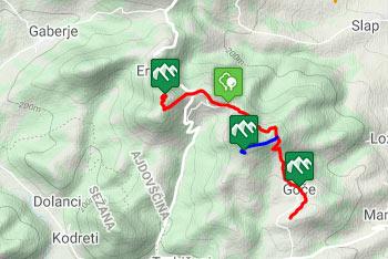 Orientacija do Obelunca je iz vasi Goče lahka, zato uporabimo aplikacijo do izhodišča izleta.