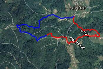 Pot na Osrenco je dobro označena, prične pa se v Javorju in vodi preko Felič vrha.