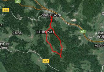 GPS sled nas vodi po razgibani poti dolenjske pokrajine.