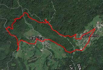 Za lažjo orientacijo na poti na Rašico uporabimo GPS sled.
