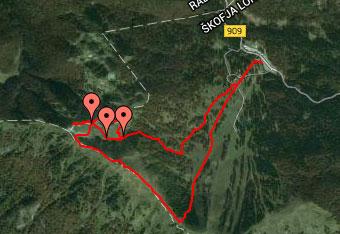 GPS sled nas vodi iz Soriške planine na z bunkerji posejan Slatnik.
