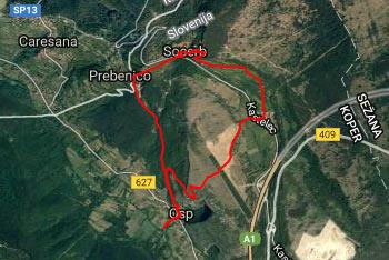GPS sled nas vodi do Socerba iz vasi Osp pod Tinjanom.