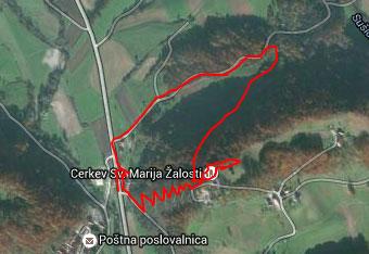 Do romarske cerkve na Starih gorah nad Podsredo nas vodi gps sled po krožni poti.