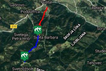 Pot na svetega Ožbolta nad Škofjo Loko je dobro označena in nimamo težav z orientacijo.