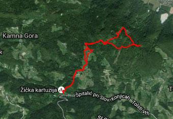 Pot do Tolstega vrha je delno označena zato si pomagamo s gps trackom.