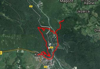GPS sled prikazuje Kobariško pot, ki nas vodi mimo Tonocovega gradu in slapa Kozjak