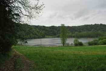 Dobravica nad dolino Drage je znana po številnih ribnikih.