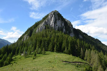 Veliki Rogatec se strmo dviga nad Lepenatko. Gora je kljub majhni višini zahtevna.