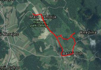 Na sprehodu do izvira Lahinje uporabimo gps sled zlasti med krožnim povratkom.