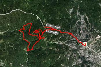 GPS sled na Jepco prikazuje tudi pot na Koroško Malo Kepo in njeno še višjo istoimenjakinjo..