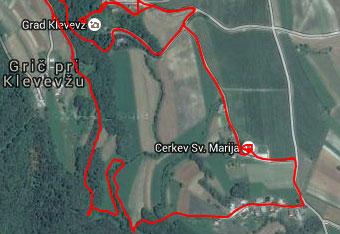 Opisana pot okoli Klevevža je precej zavita in neoznačena zato uporabimo gps sled.