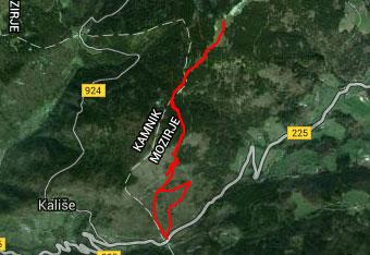 GPS sled nas vodi na vrh Kašne planine oziroma Kranjske rebri.