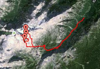 GPS sled do Malega Triglava uporabimo zato, da ne zgrešimo razpotij.