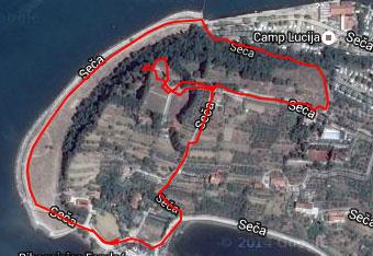GPS navigacijo uporabimo za polotok Seča predvsem da najdemo izhodišče.