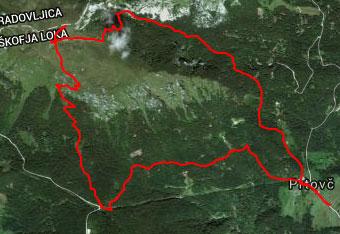 Iz vasi Prtovč se krožno povzpenemo preko Ratitovca s pomočjo gps sledi.