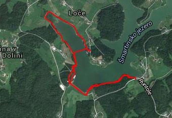 GPS track uporabimo do izhodišča Šmartinskega jezera.