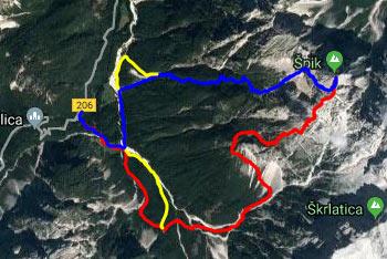 GPS sled prikazuje krožno pot na Špik v Julijskih Alpah, ki nas mimo Koče v Krnici vodi preko Lipnice na goro in dol po Kačjem grabnu v dolino Velike Pišnice.