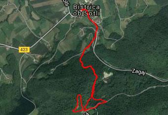 GPS sled prikazuje delno krožno pot na Svete gore iz Bistrice ob Sotli