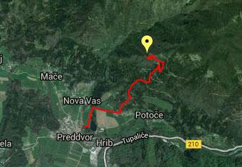 GPS sled nas pripelje do planinskega doma Iskra in Svetega Jakoba.